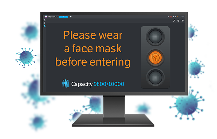 Pc montior displaying IndigoKiosk face mask alert feature