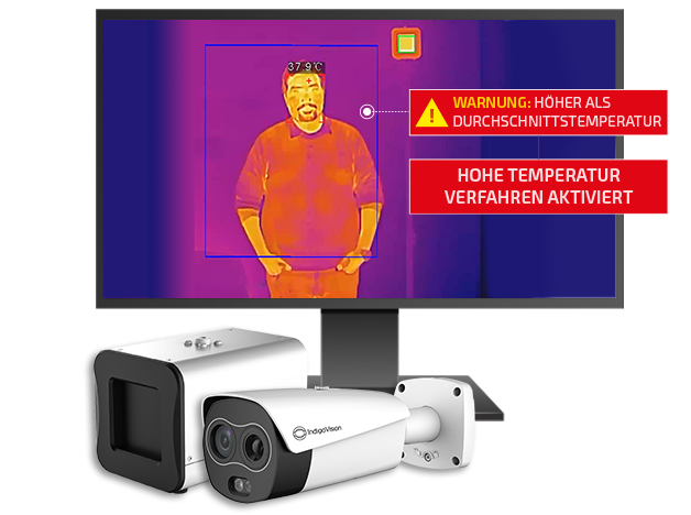 IndigoVision thermal temperature Screening monitor screen and cameras