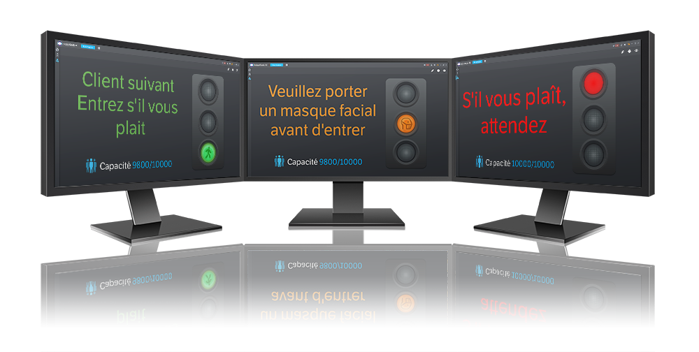 Écrans de contrôle montrant trois étapes d'IndigoKiosk