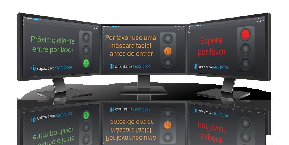 Supervise las pantallas que muestran tres etapas de IndigoKiosk