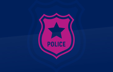 Police Surveillance Pink Icon Showing Police Badge