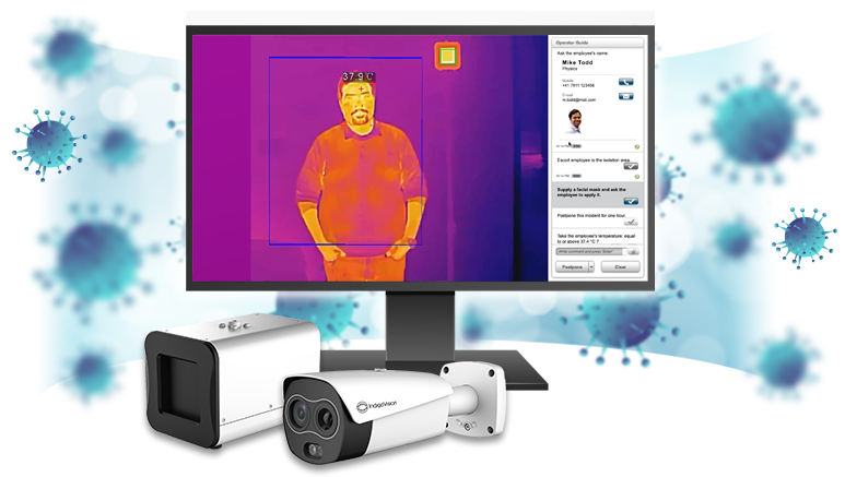 IndigoVision complete thermal temperature screening solution with Corona virus Image in the background