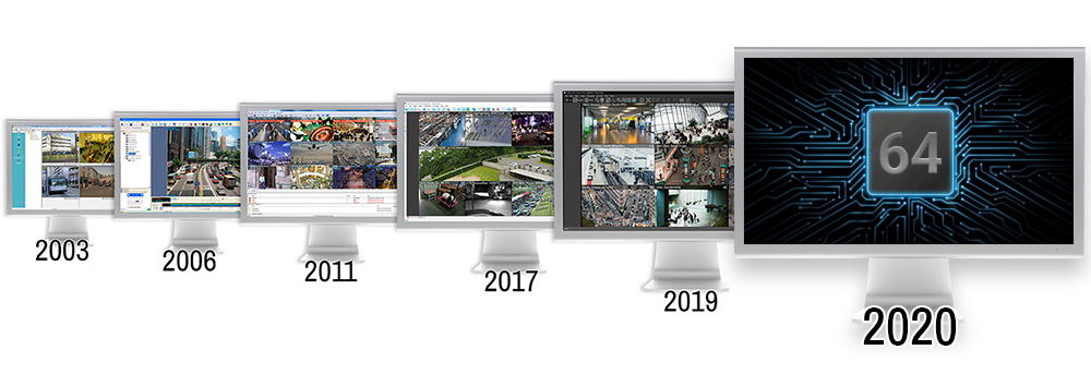 Six computer monitors showing Control Center version updates over the past six years